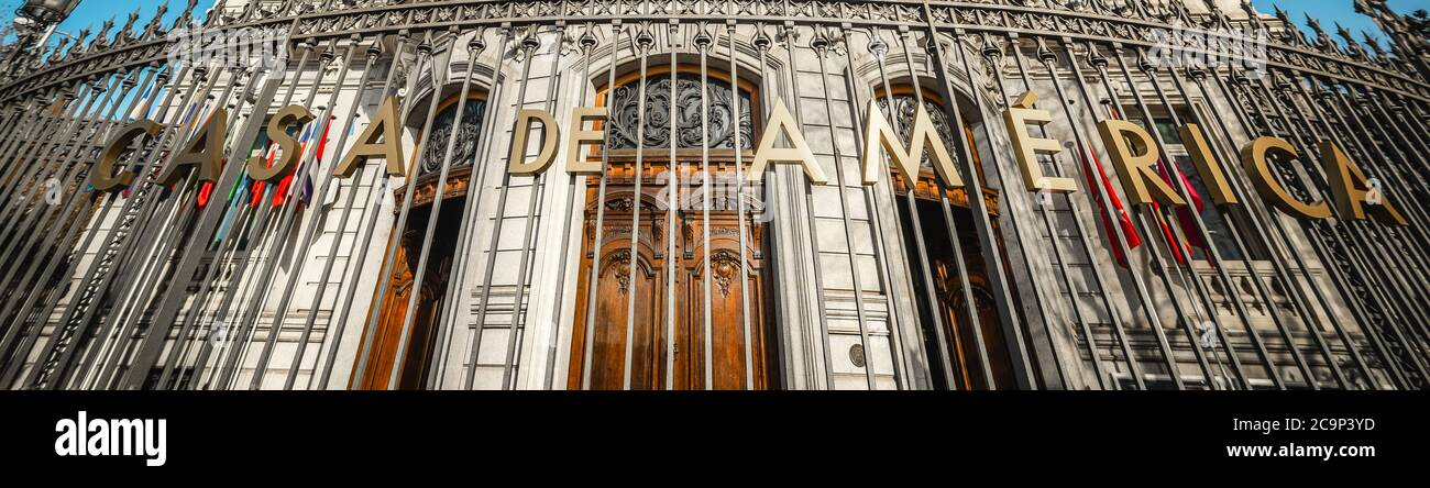 Casa de America writing in Plaza de Cibeles. Madrid, Spain Stock Photo