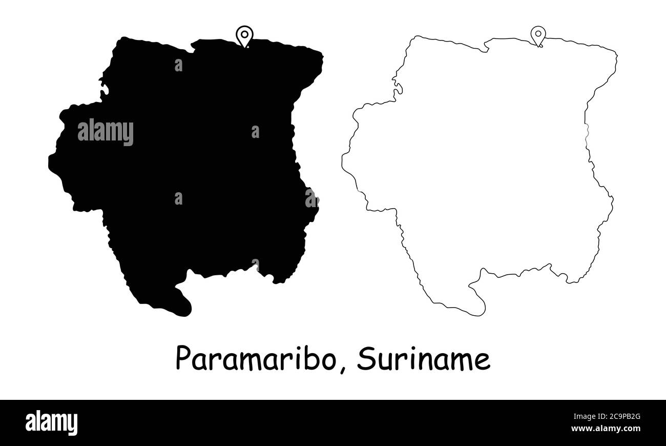 Paramaribo, Suriname. Detailed Country Map with Location Pin on Capital City. Black silhouette and outline maps isolated on white background. EPS Vect Stock Vector