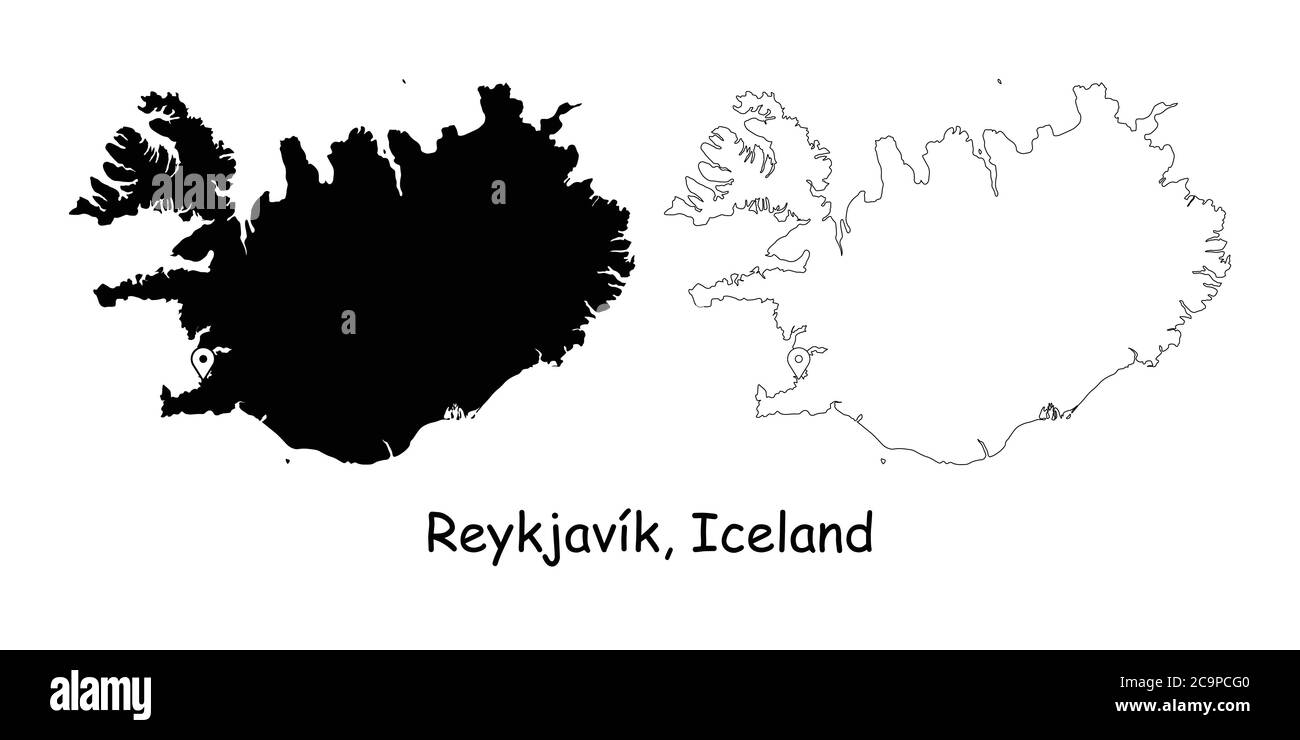 Image of: Reykjavik Iceland Detailed Country Map With Location Pin On Capital City Black Silhouette And Outline Maps Isolated On White Background Eps Vector Stock Vector Image Art Alamy