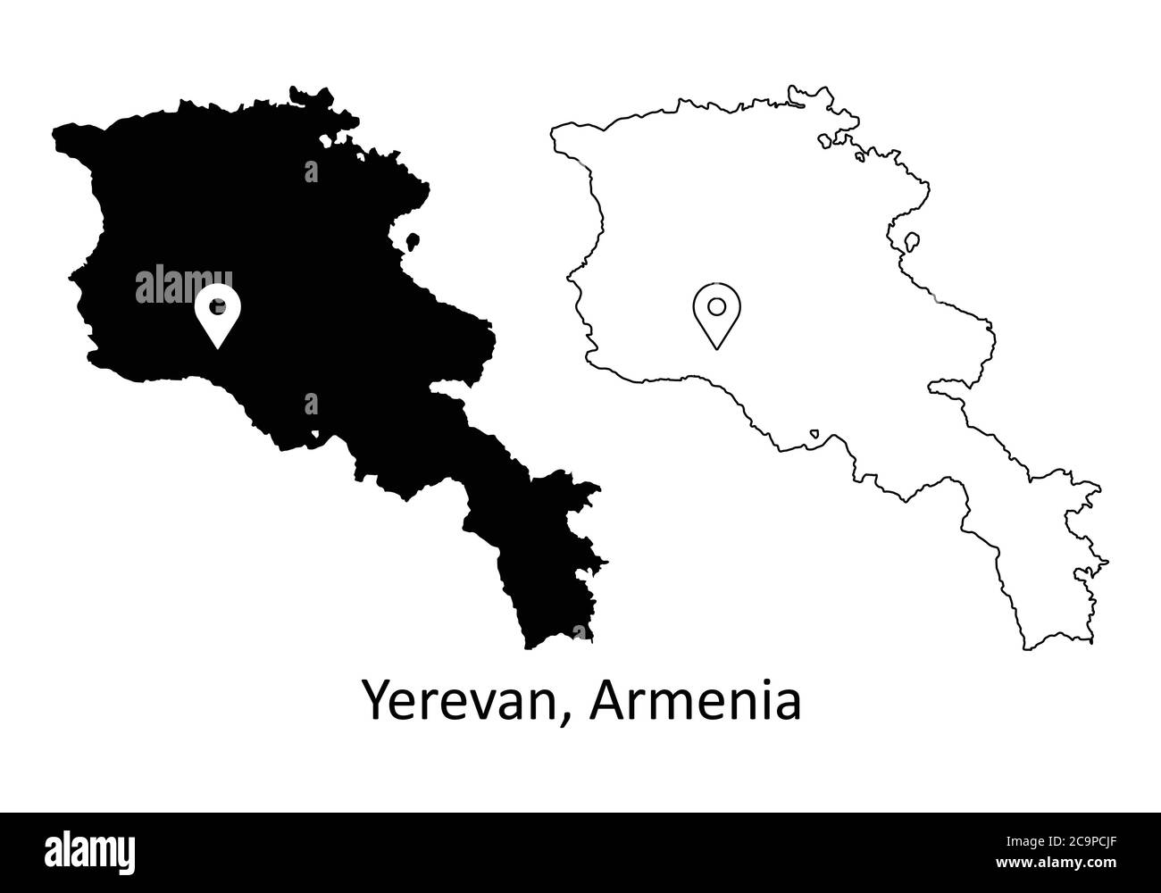 Picture of: Yerevan Armenia Detailed Country Map With Capital City Location Pin Black Silhouette And Outline Maps Isolated On White Background Eps Vector Stock Vector Image Art Alamy