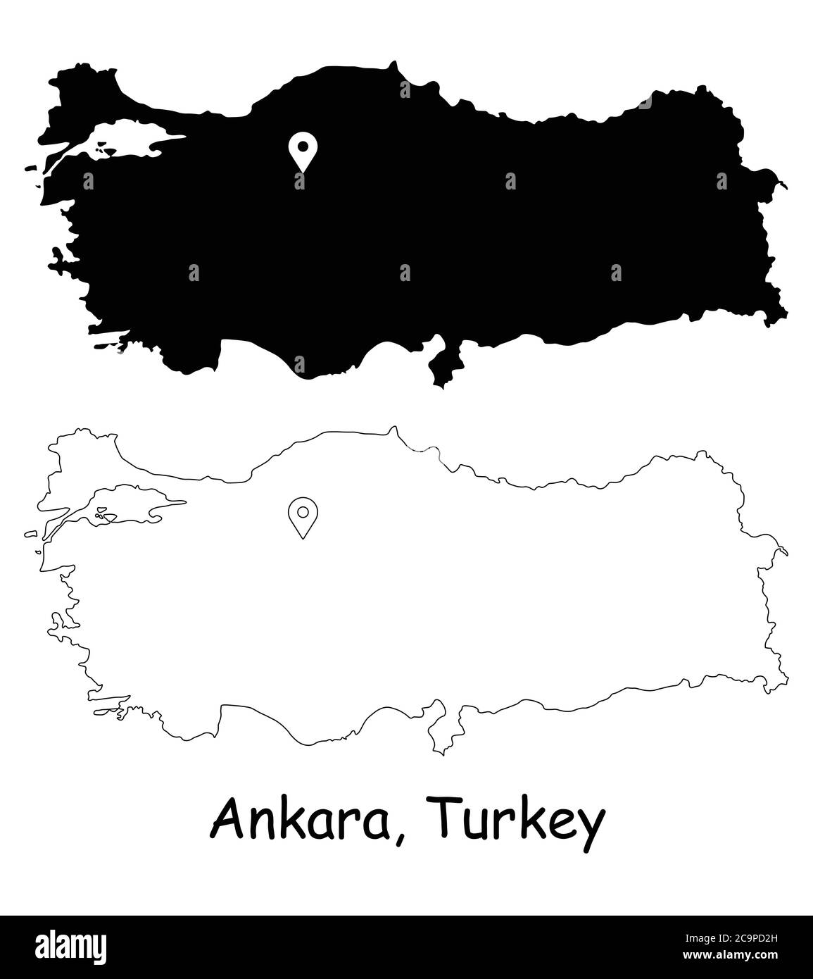 Ankara, Turkey. Detailed Country Map with Location Pin on Capital City. Black silhouette and outline maps isolated on white background. EPS Vector Stock Vector