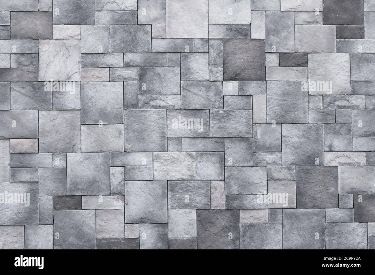 Squares background, stone wall texture, gray rock floor. Monochrome granite, brick surface. Architectural design concept Stock Photo