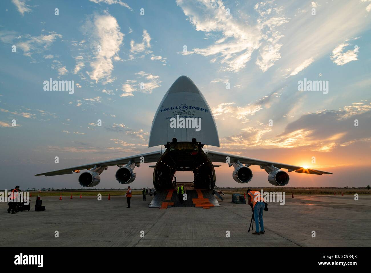 Russian Antonov-225 worlds largest cargo airplane in Bolivia, send to carry helicopters to fight the fires Stock Photo