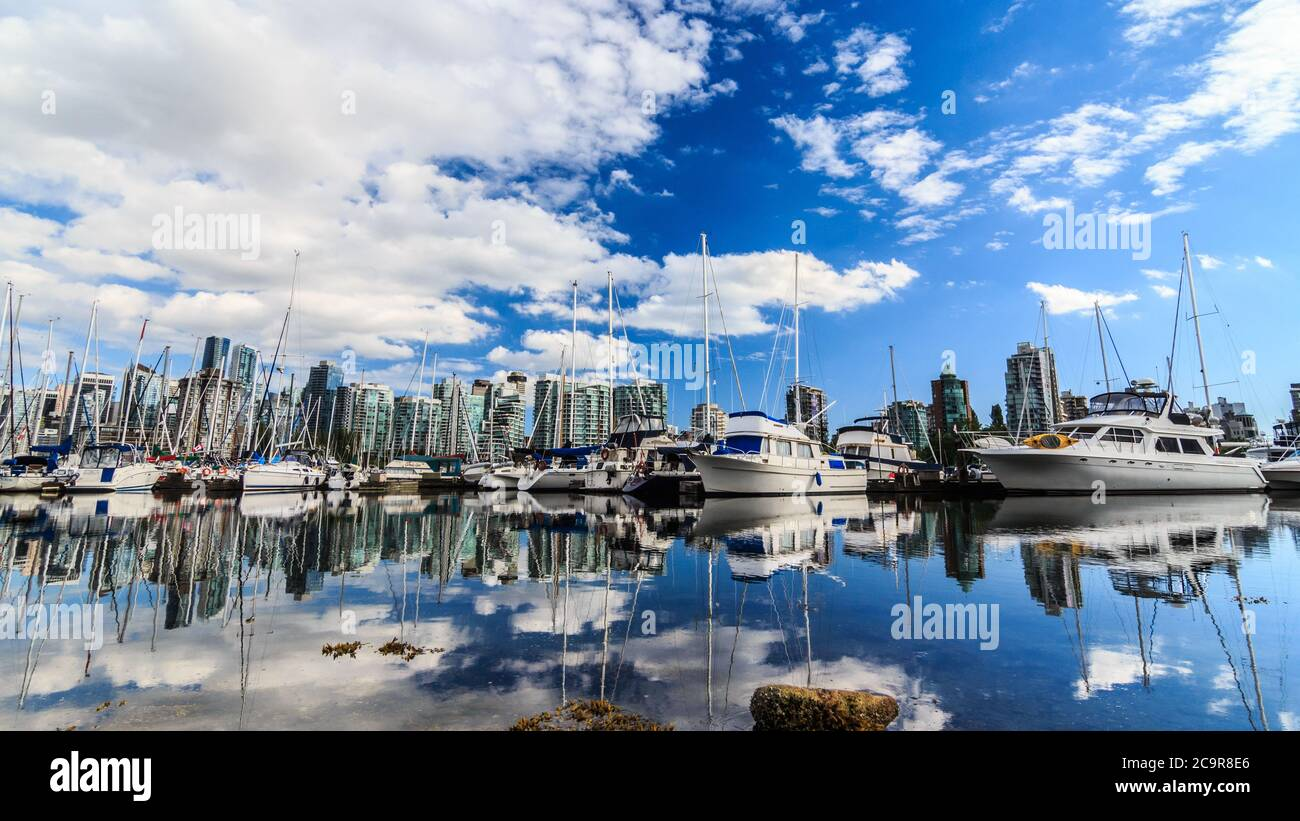 Yachts parked in the harbor in Vancouver with the city in the background Stock Photo