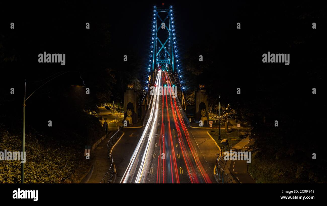 Lions Gate Bridge Entrance in Vancouver BC Canada at Night Stock Photo