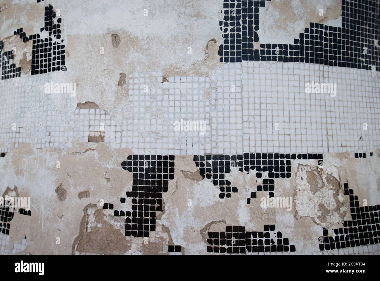 artistic ceramic mosaic in grayscale Stock Photo
