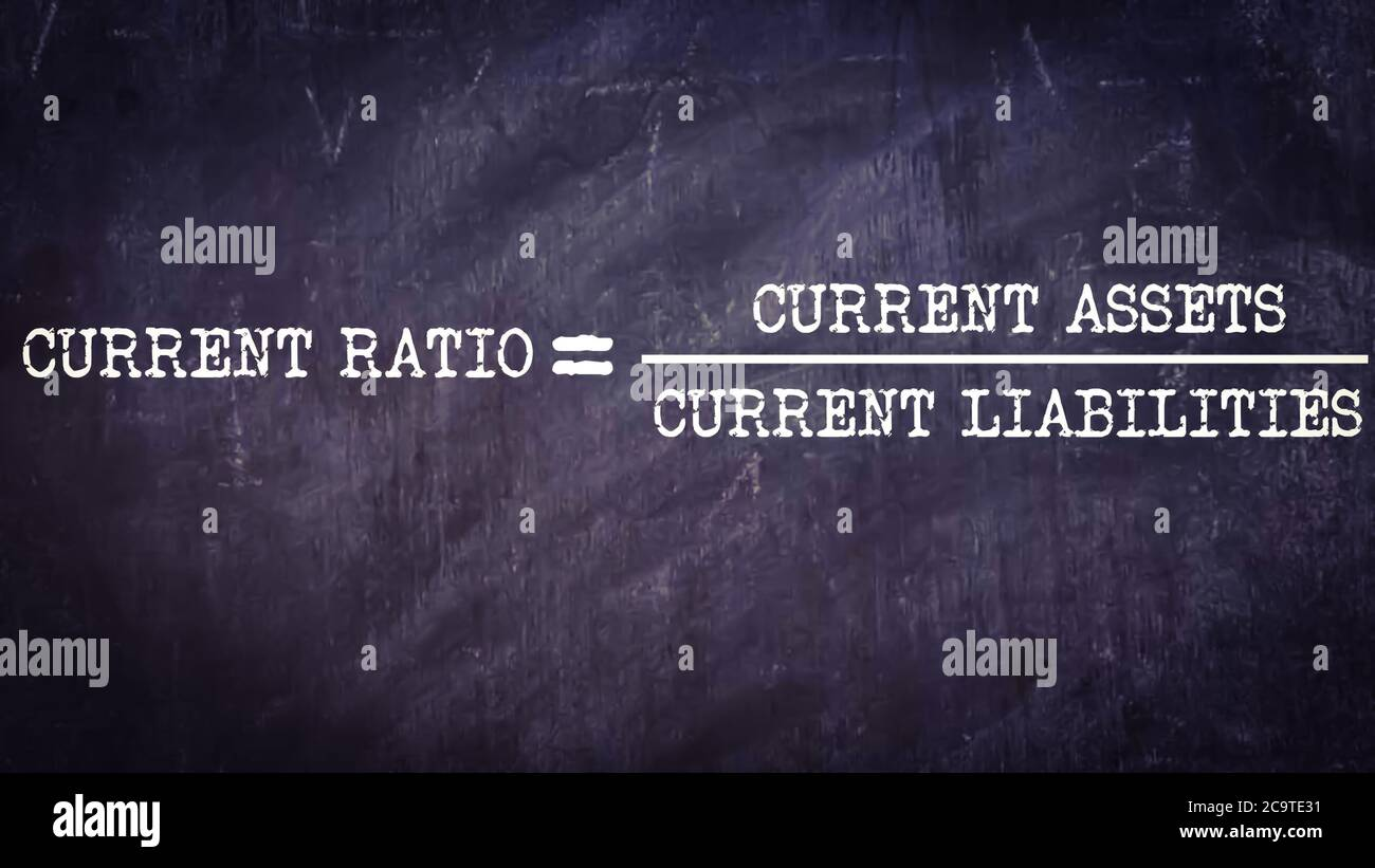 Current ratio equal to current assets upon current liability business equation word presented with digital text art black chalkboard pattern for learn Stock Photo
