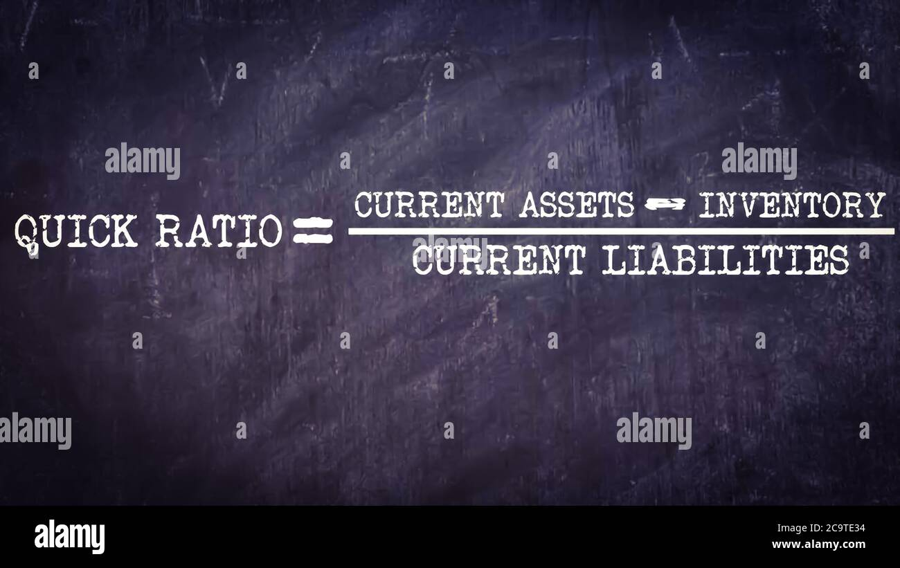 Quick ration equal to current assets minus inventory upon current liabilities business equation word presented with digital text art black chalkboard Stock Photo