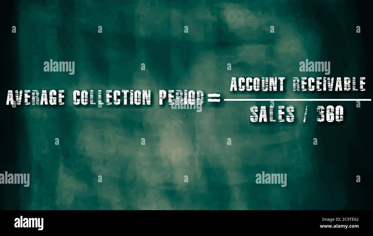 Average collection period equal to account receivable upon sales divided by 360 days business equation word presented with digital text art black chal Stock Photo