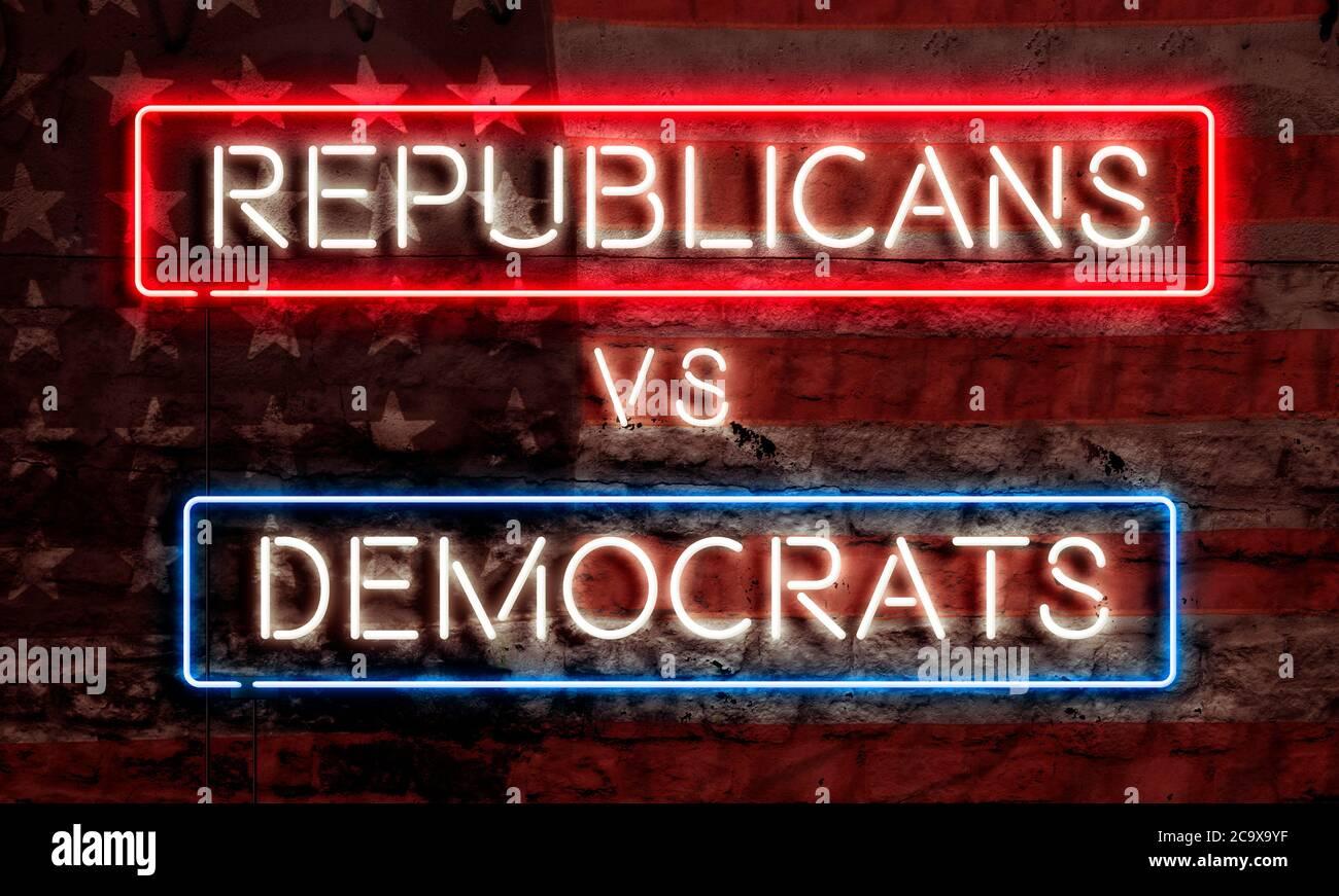 Presidential Election Political Graphic Art Neon Sign Republicans VS Democrats Stock Photo