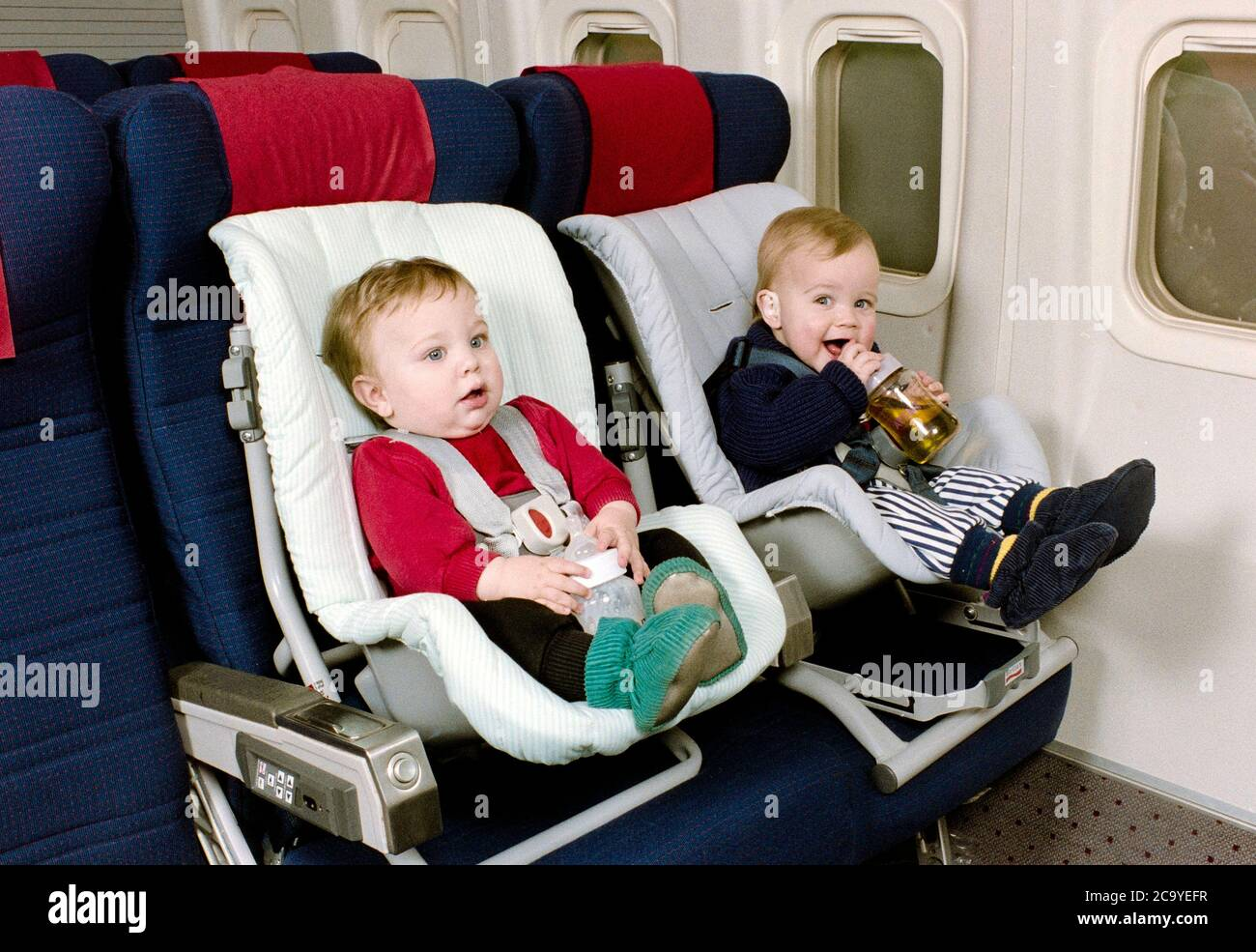 British Airways Introduce Child Safety Seats For Very Young Passengers Travelling On Their Aircraft In 1991 The Child Seats Are Based On The Model Designed For Motor Vehicles Stock Photo Alamy