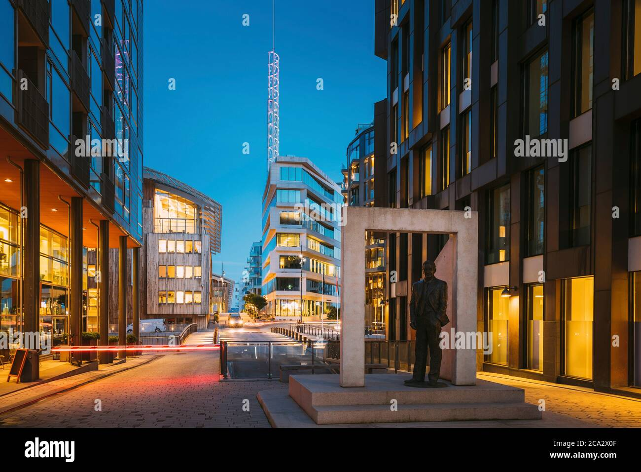 Oslo, Norway. Night View Embankment And Residential Multi-storey Houses In Tjuvholmen District. Summer Evening. Residential Area. Stock Photo