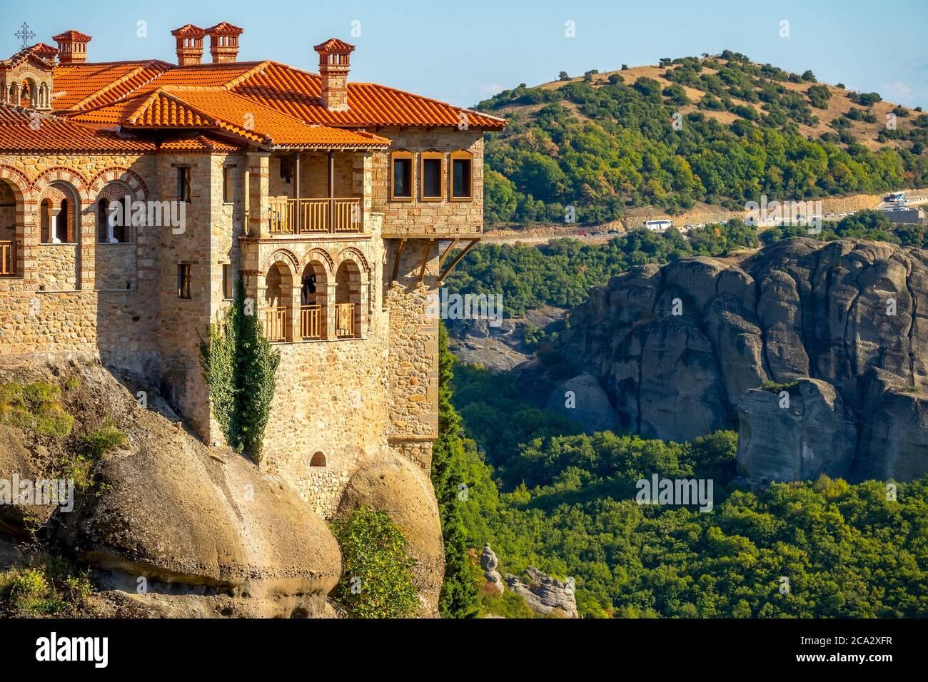 Greece. Summer sunny day in Kalambaka. Balconies of a Rock Monastery of Meteora. Stock Photo