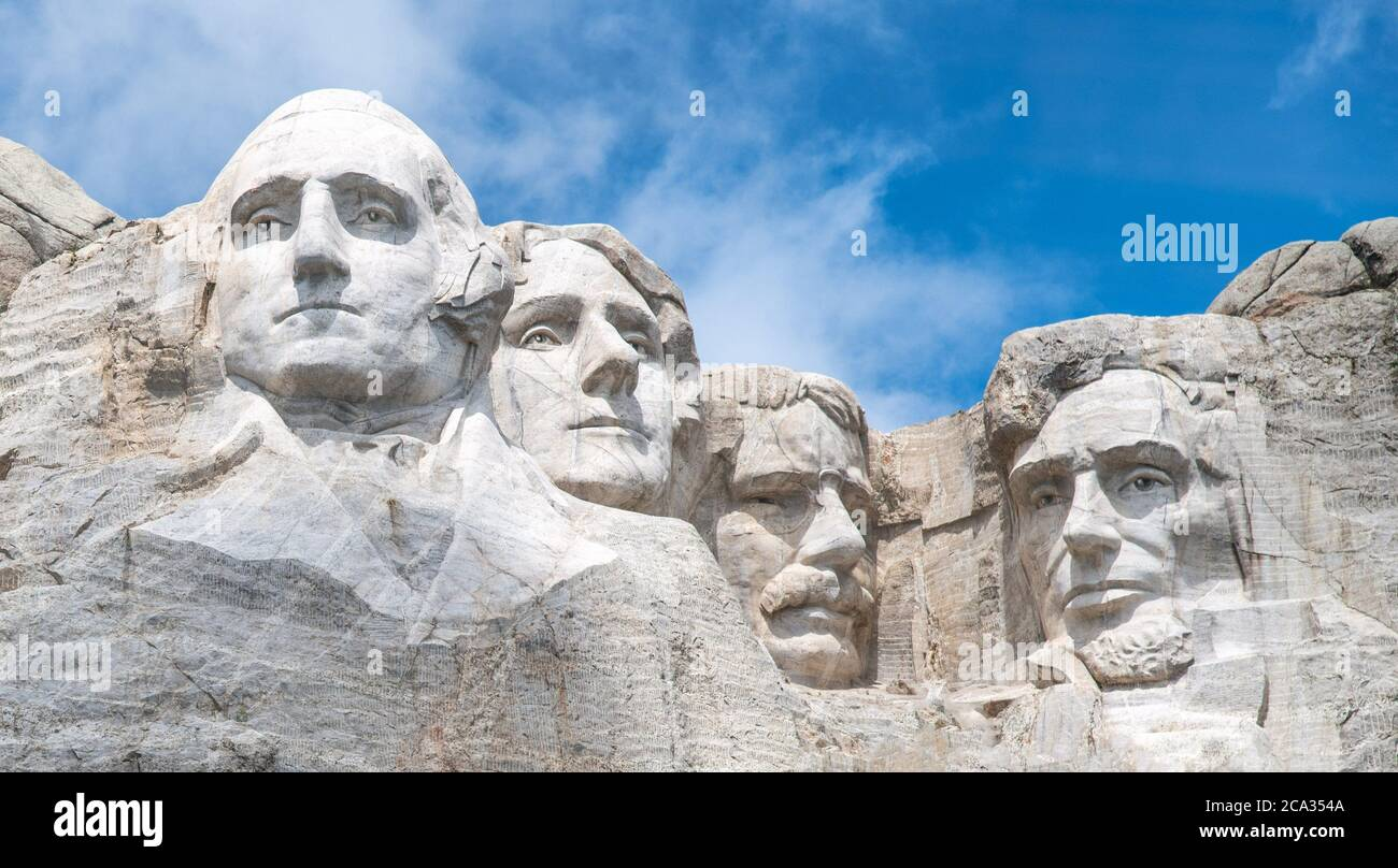 Famous Landmark and Sculpture - Mount Rushmore National Monument, near Keystone, South Dakota - USA. Stock Photo