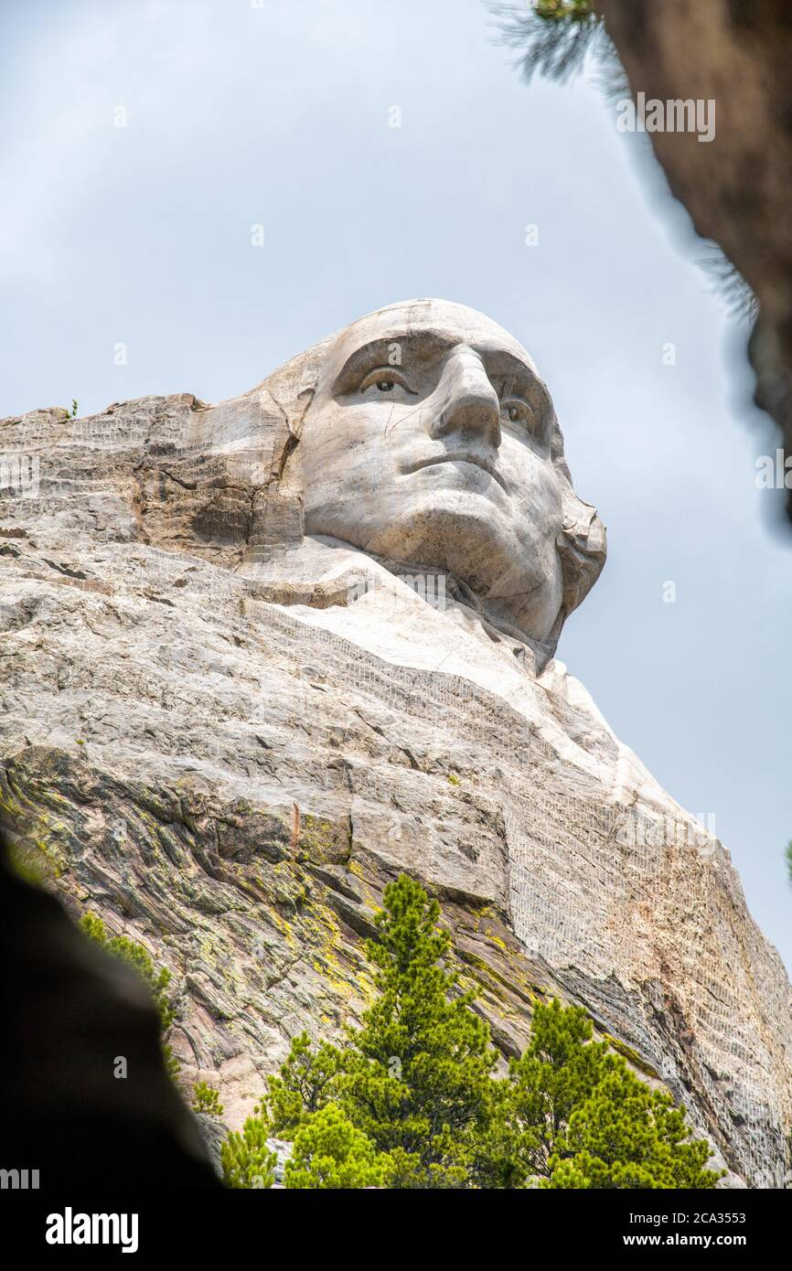 Famous Landmark of George Washington Sculpture - Mount Rushmore National Monument, near Keystone, South Dakota - USA, Black Hills. Stock Photo