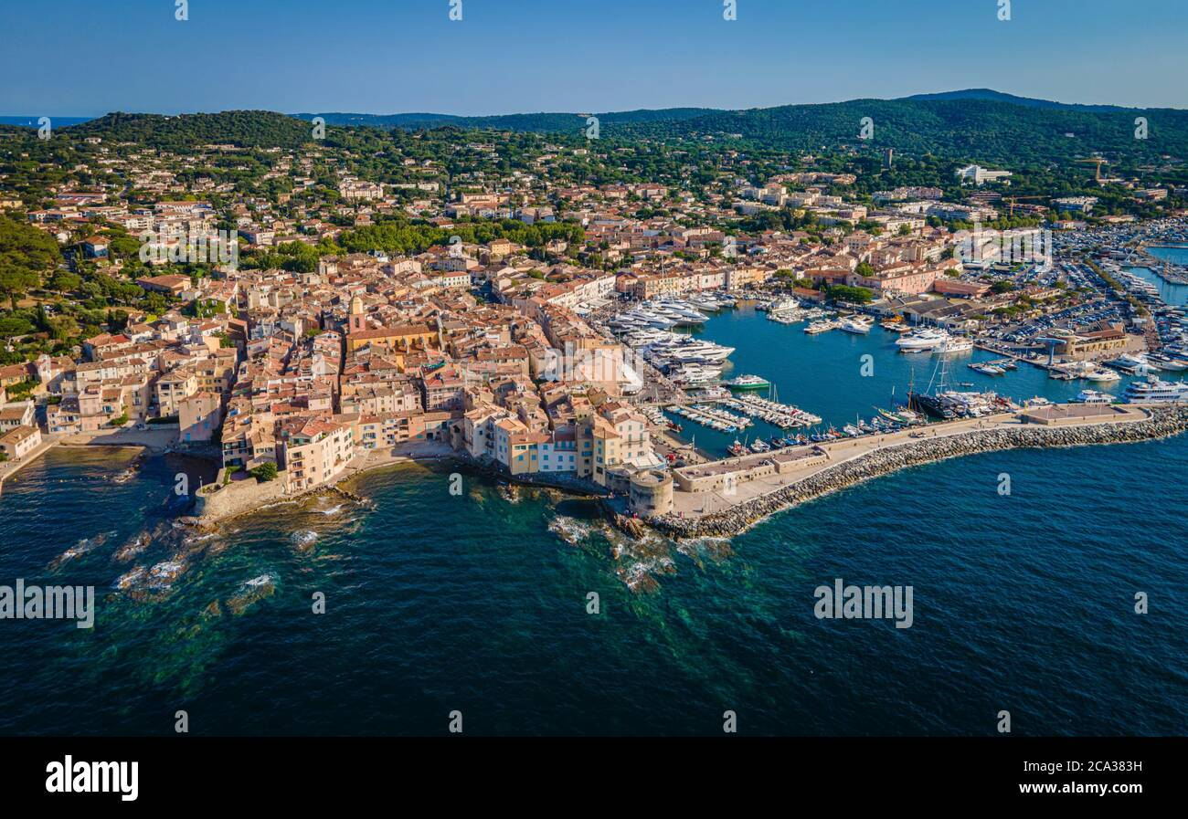 View over Saint Tropez in France located at the Mediterranian Sea at the Cote D Azur - travel photography. Stock Photo