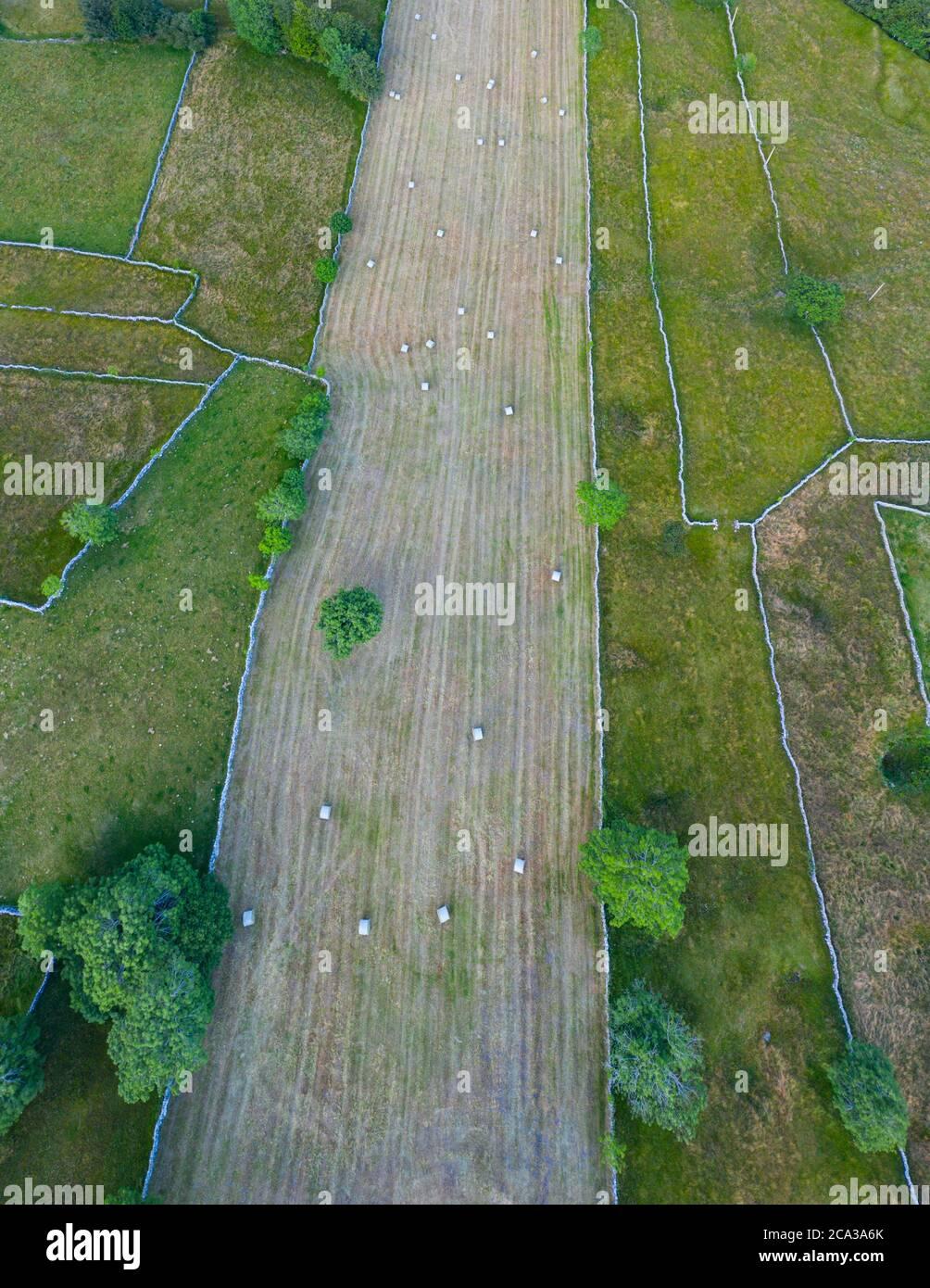 Spring landscape of mowing meadows and pasiega cabins near Puerto del Portillo de Lunada. Pasiegos Valleys. Merindades region. Burgos province. Stock Photo