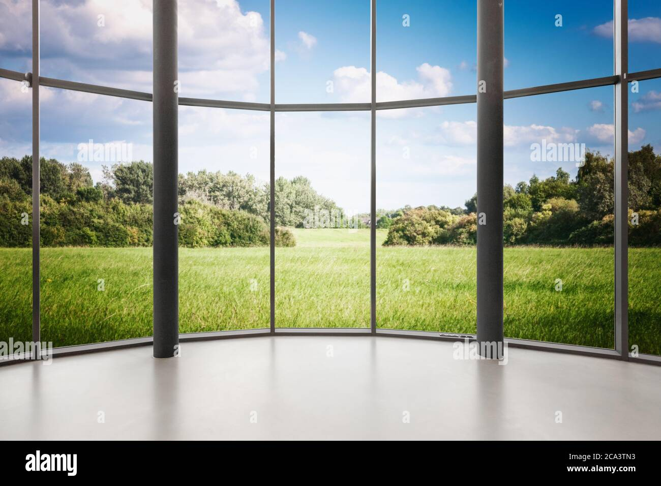 Glass window of empty round shape room with landscape view. Windows frame with clipping path Stock Photo