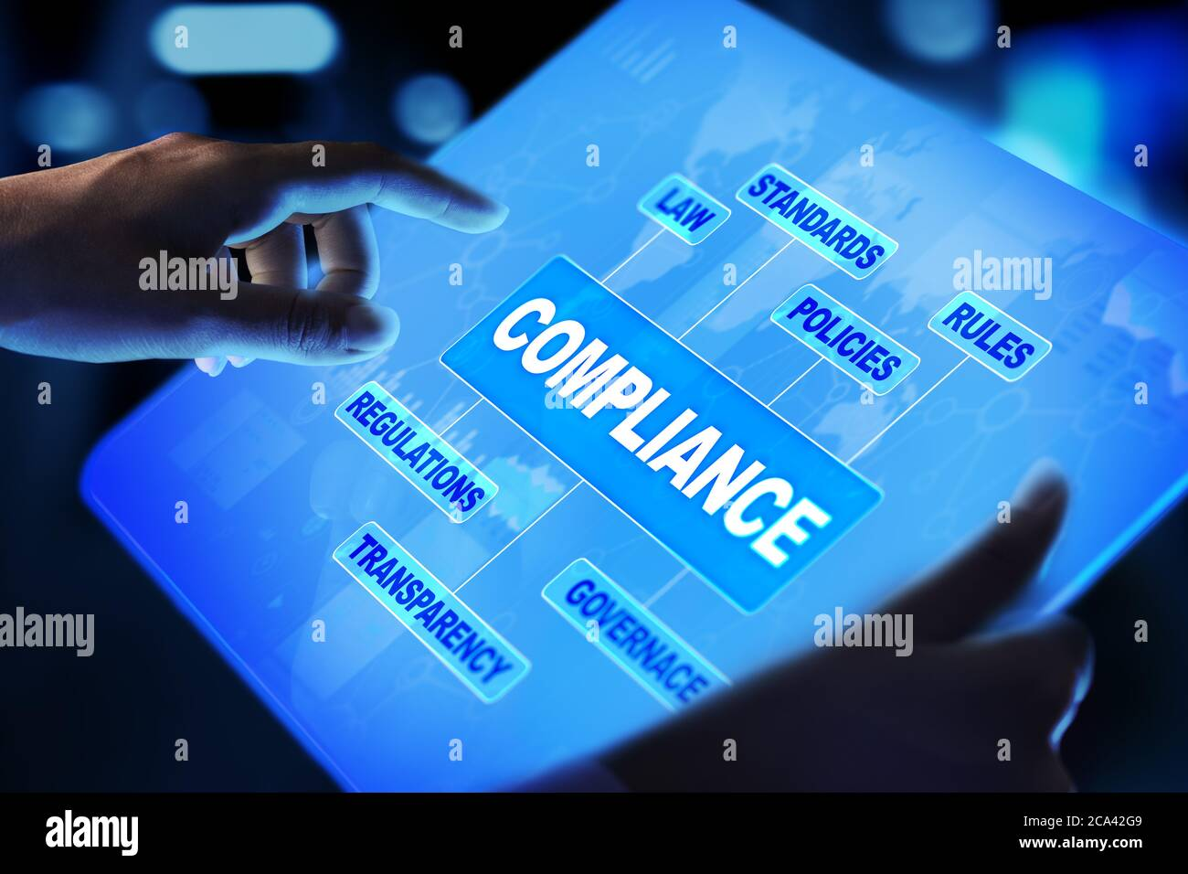 Compliance concept with icons and text. Regulations, law, standards, requirements, audit diagram on virtual screen Stock Photo