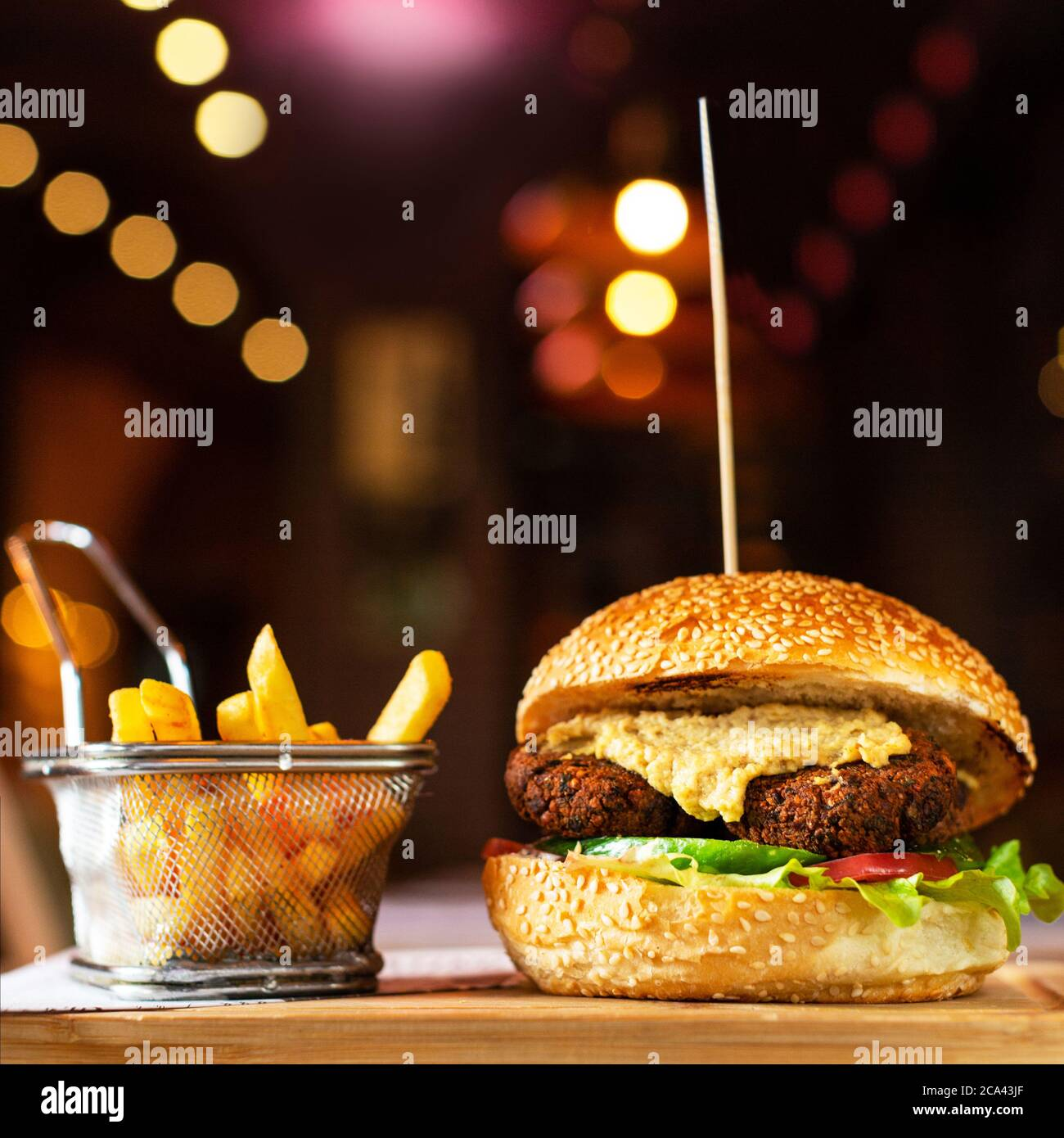 Vegetarian, Veggie burger with french fries Stock Photo