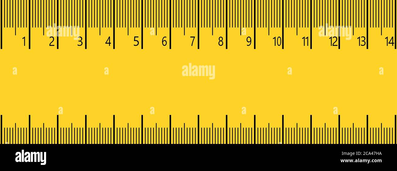 14 cm measure ruler. 14 centimeters metric ruler with yellow and ...