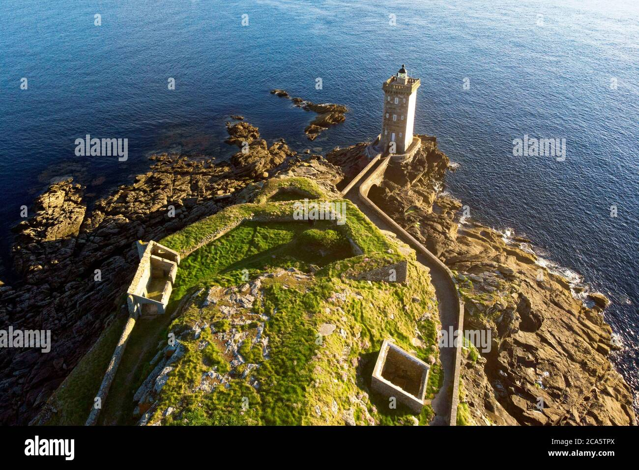 France, Finistere, Iroise see, Armorique Regional natural park, Le Conquet, Kermorvan peninsula, Pointe de Kermorvan and Kermorvan lighthouse (aerial view) Stock Photo
