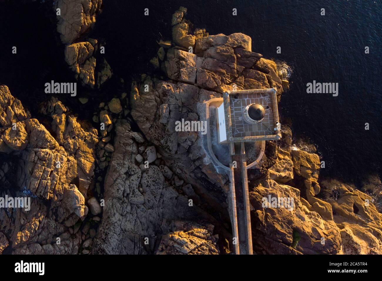 France, Finistere, Iroise see, Armorique Regional natural park, Le Conquet, Kermorvan peninsula, Pointe de Kermorvan and Kermorvan lighthouse (aerial view) Stock Photo