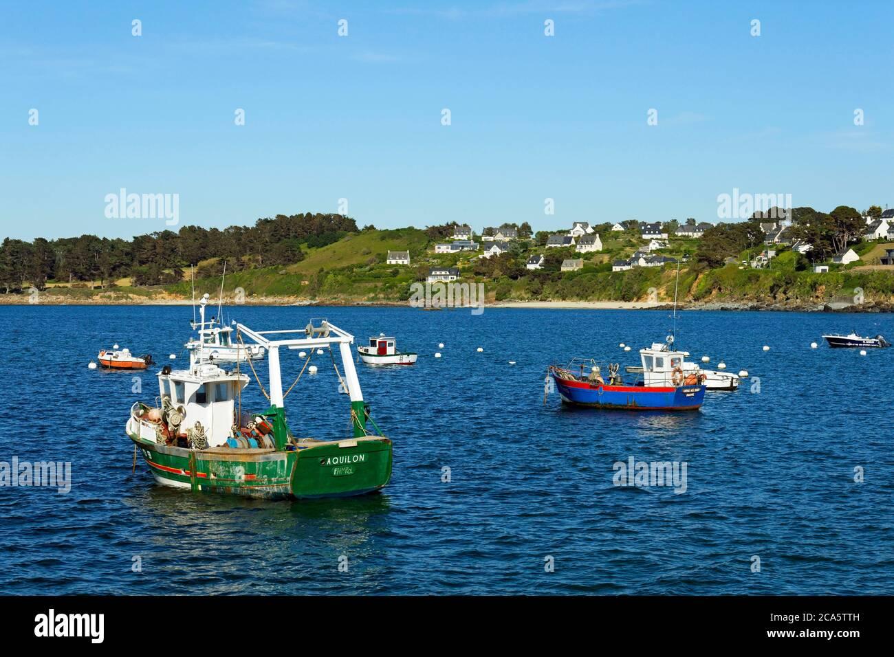 France, Cotes d'Armor, Locquemeau, the harbour Stock Photo