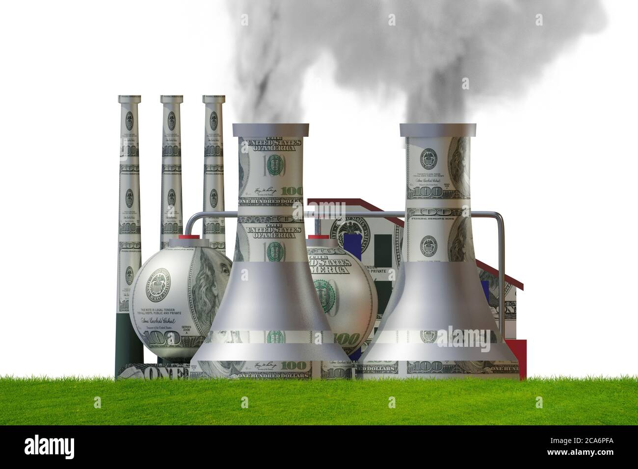 Carbon tax concept with the industrial plant - 3d rendering Stock Photo