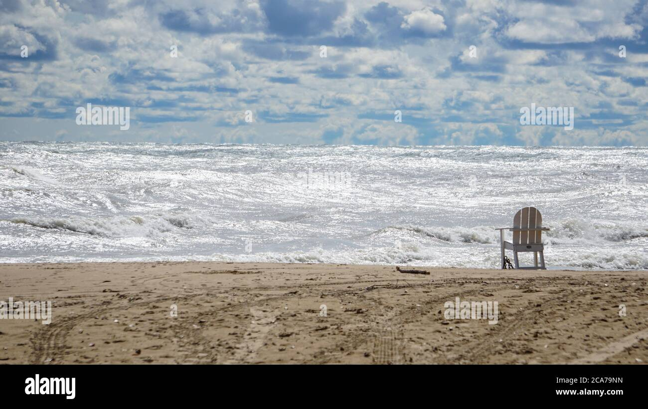 Wind advisory brings rough surf to Lake Michigan's Illinois shore on a summer day. Stock Photo