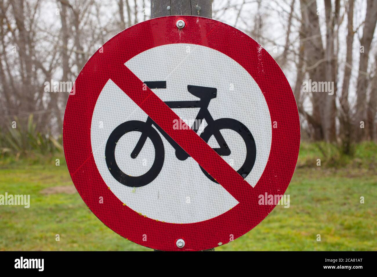 New Zealand Countryside Scenes: Danger and Warning signs e.g. on Irrigation Infrastructure; Forestry Plantations; River Gravel Extraction. Stock Photo