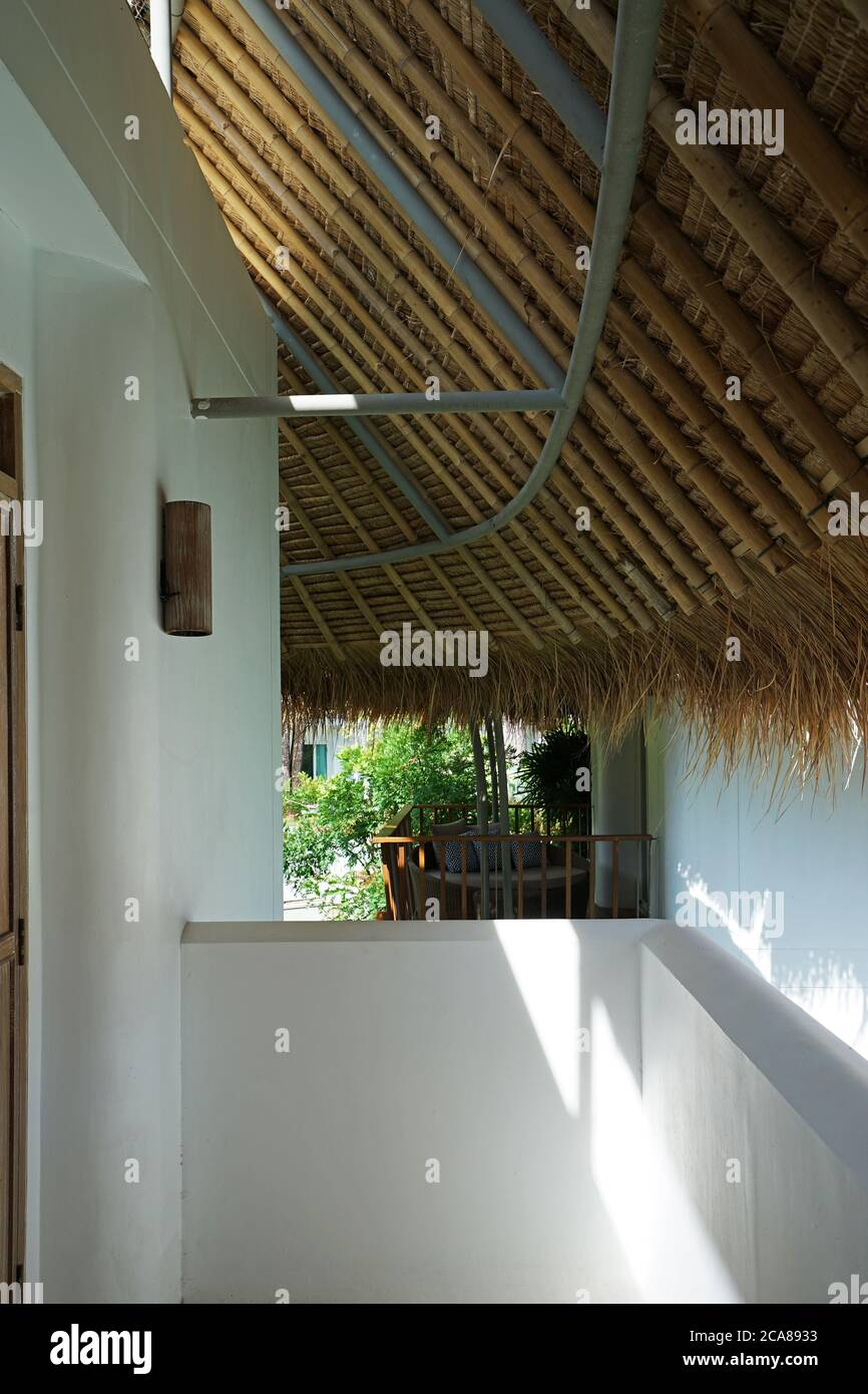 Exterior Architecture And Design Of Outdoor Terrace And Balcony Patio Built With White Concrete Cement Ecology Furniture And Tropical Roof Decoration Stock Photo Alamy
