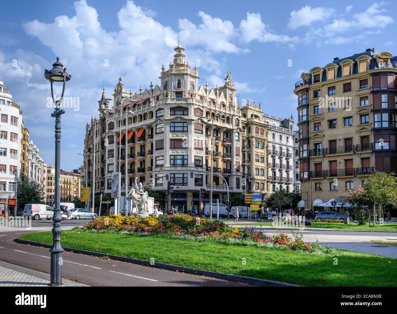 Apartment buildings, Plaza Euskadi, San Sebastian Stock Photo
