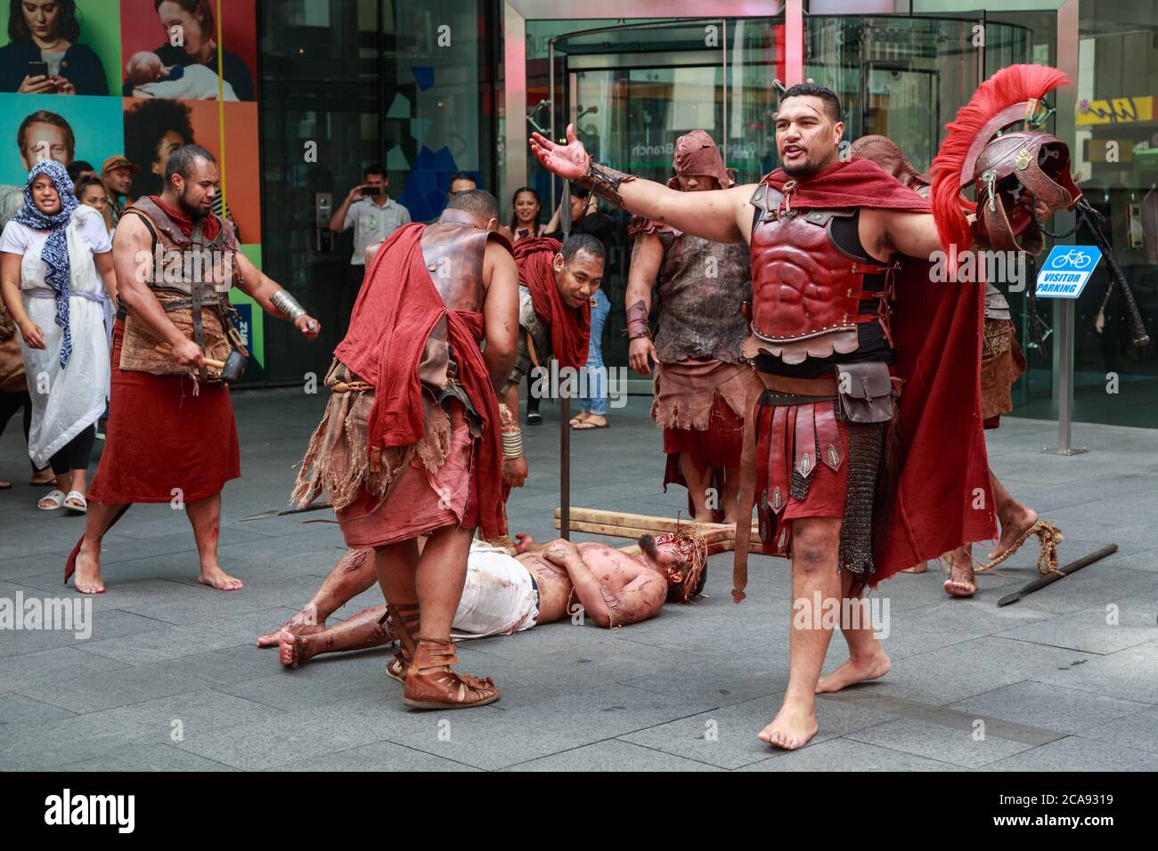 Easter reenactment of the crucifixion of Jesus with costumed actors from a Polynesian church. Auckland, New Zealand, March 31 2018 Stock Photo