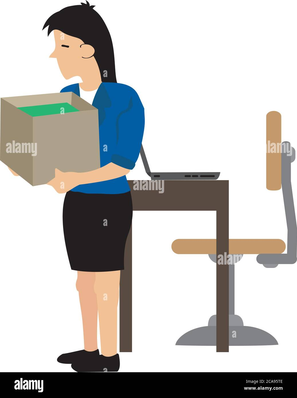 Businesswoman losing her job. Sad young woman with a heavy box of personal items after losing her job. Concept of career termination or corporate chan Stock Vector