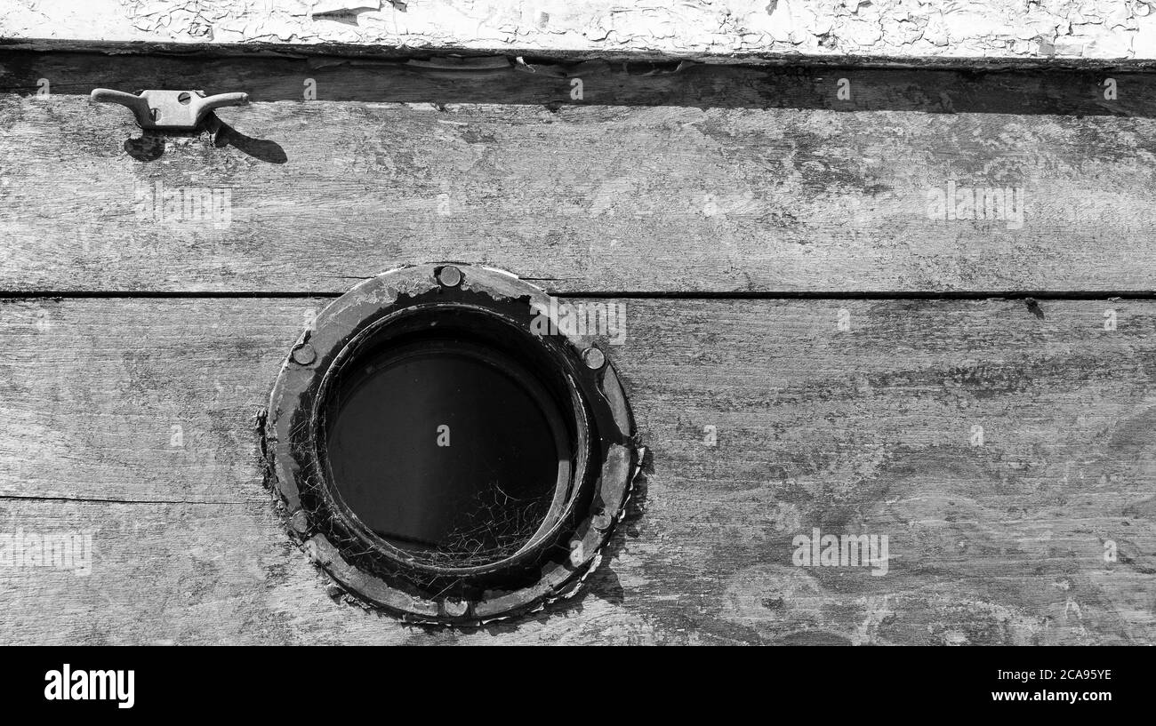 Small boat porthole example Stock Photo