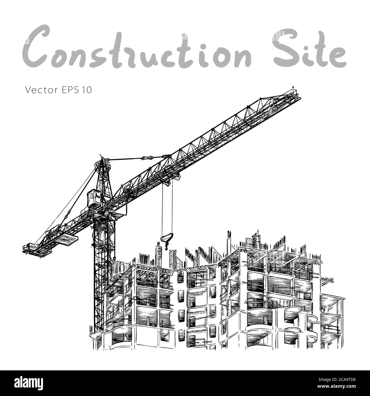 Building Construction And Tower Cranes City Vector Draw Stock Vector Image Art Alamy