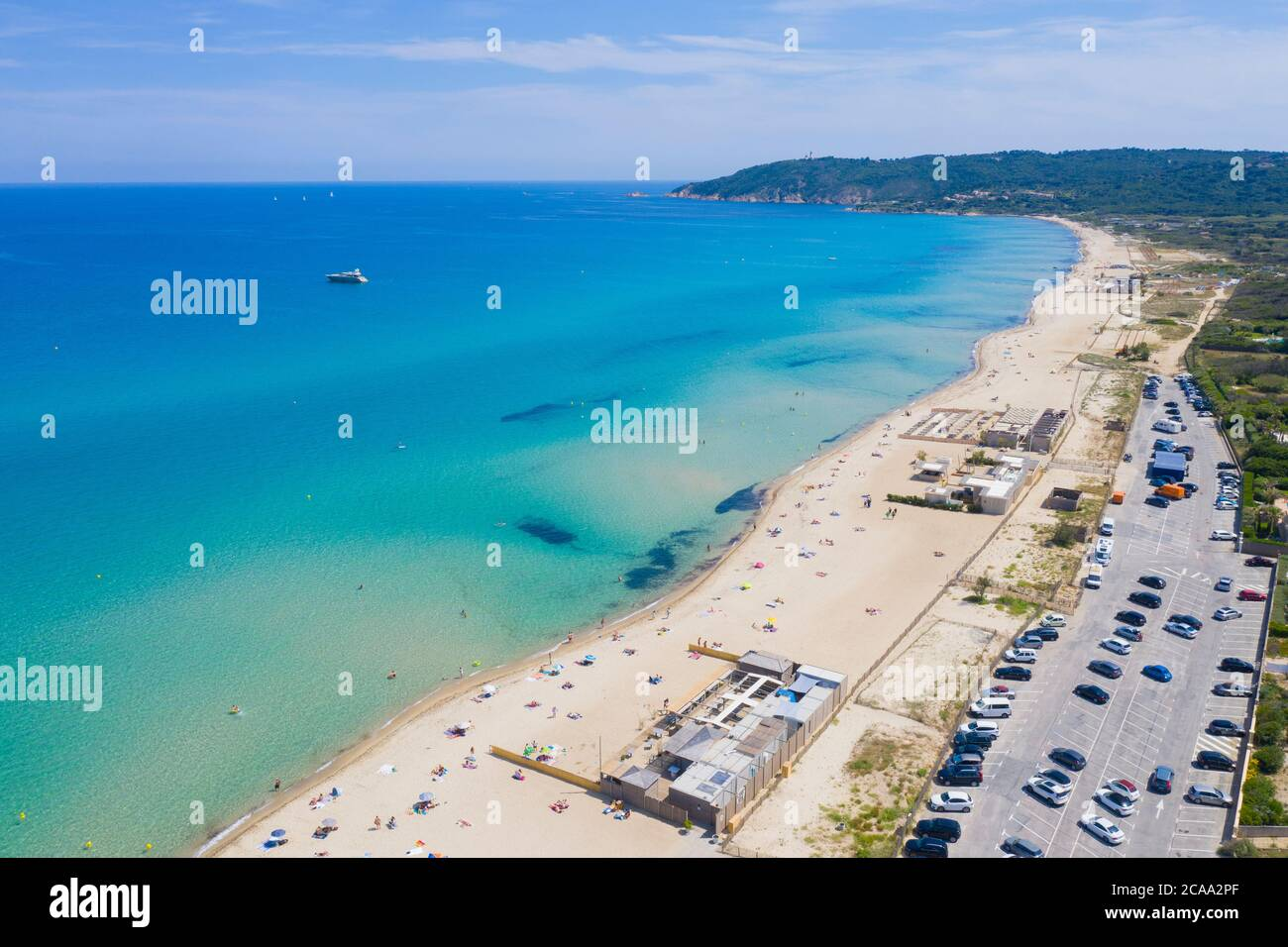 Var department, Ramatuelle - Saint Tropez, Aerial view of Pampelonne beach, the famous beach located on French Riviera Stock Photo