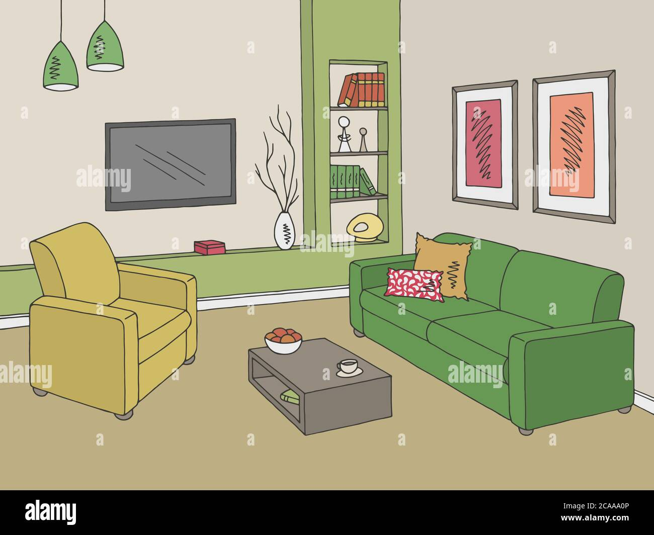 Living Room Graphic Color Home Interior Sketch Illustration Vector Stock Vector Image Art Alamy