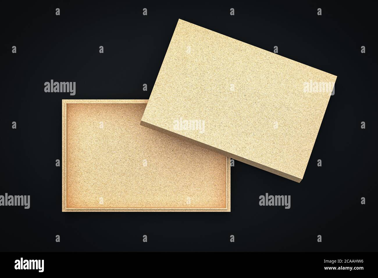 Craft Cardboard Gift Box Mockup With Opened Cover Flat Top View Isolated On Black Stock Photo Alamy
