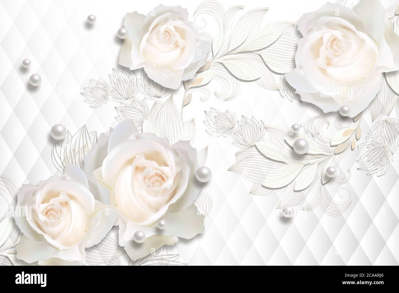 White Roses Pearls On White Abstract Background 3d Wallpaper Texture Celebration Party Design Background Stock Photo Alamy