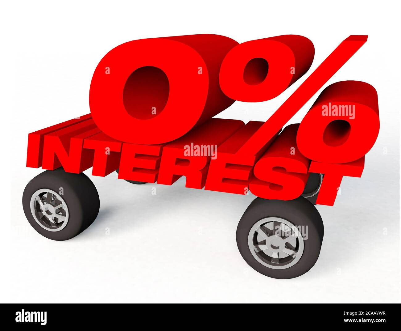 3d Render Of A Car With Words That Say 0 Interest Or Interest Free On White Background Stock Photo Alamy