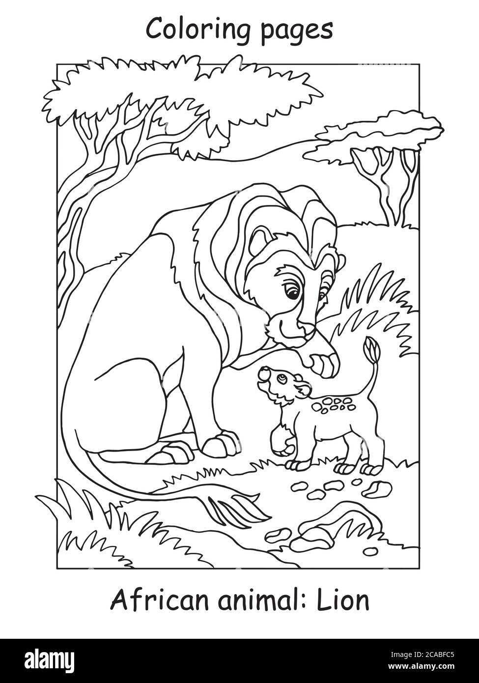 Vector Coloring Pages With Cute Lion Family In African Area Cartoon Contour Illustration Isolated On White Background Stock Illustration For Colorin Stock Vector Image Art Alamy