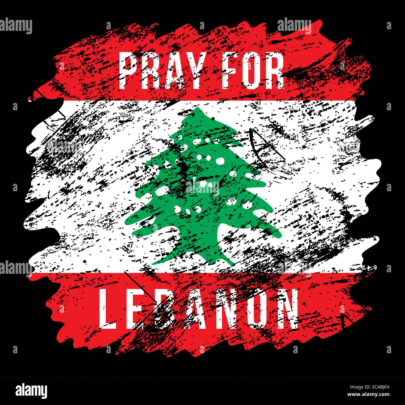 Stylized Lebanon flag with the inscription Pray for Lebanon. Tragedy in Beirut. Background dedicated to powerful explosions in Beirut. Vector illustra Stock Vector