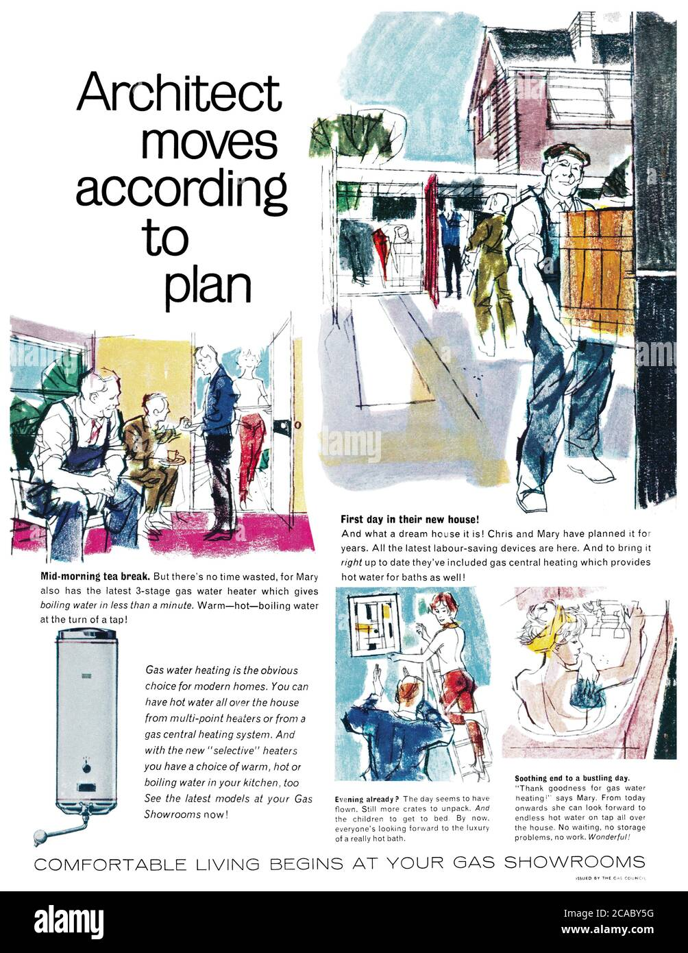 1961 British advertisement for gas water heating issued by the Gas Council. Stock Photo