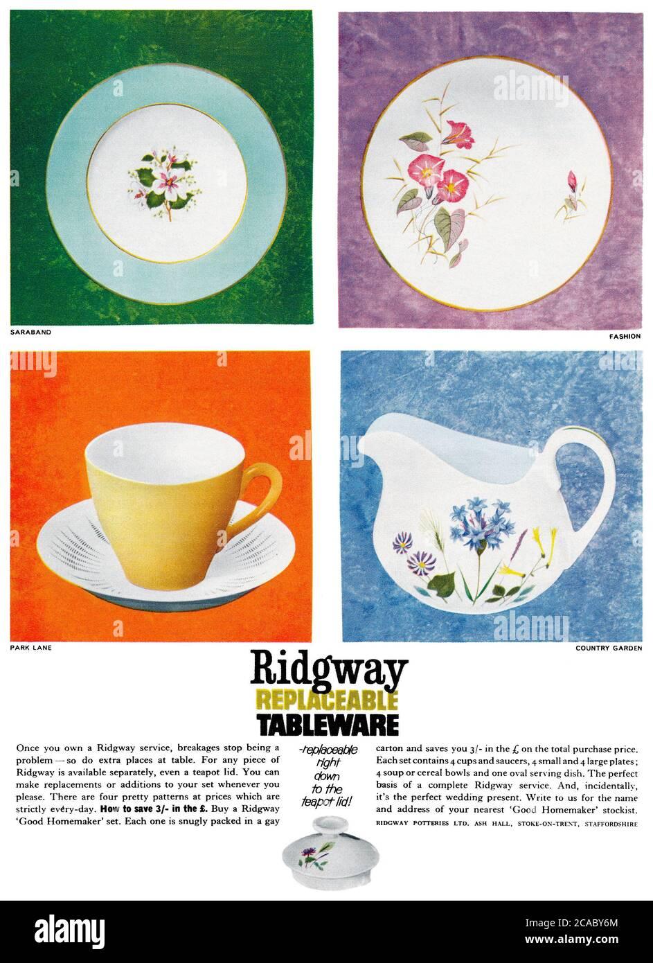 1961 British advertisement for Ridgway tableware. Stock Photo