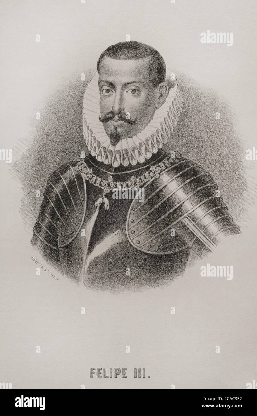 Philip III (1578-1621). King of Spain (1598-1621) and also, as Philip II, King of Portugal, Naples, Sicily and Sardinia. Portrait, 19th century. Illustration by Cebrian. Lithography. Cronica General de España. Historia Ilustrada y Descriptiva de sus Provincias. Valencia, 1867. Stock Photo