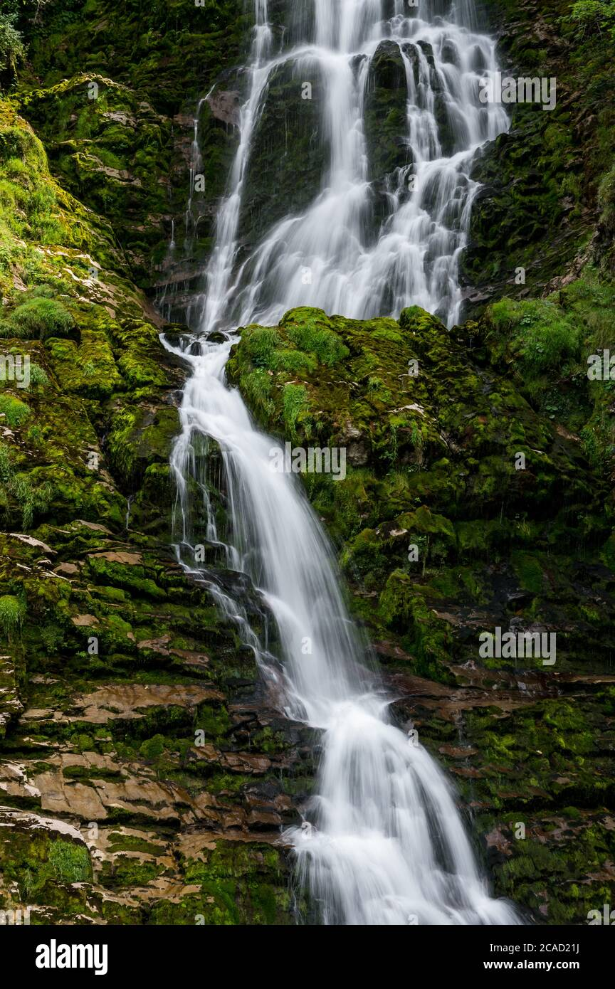 longexposure of a waterfall at Griessbach Falls in Berner Oberland Stock Photo