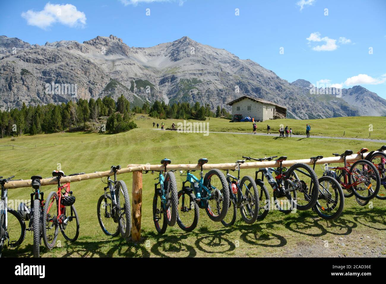 Mountain bike rack on the Alps of Lombardy in Italy in a summer trip from Bormio Stock Photo