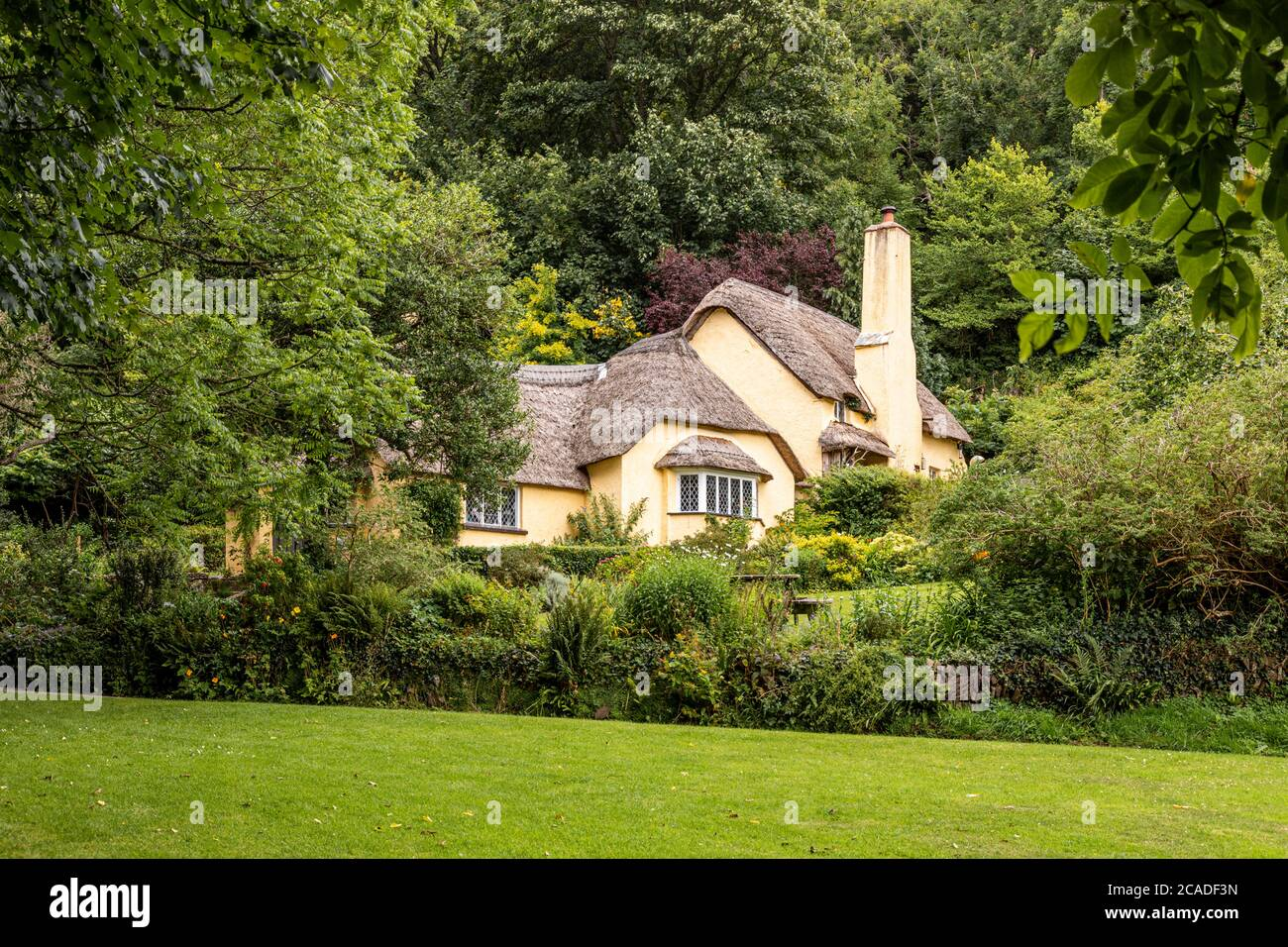 Exmoor National Park - A typical thatched cottage in the village of Selworthy, Somerset UK Stock Photo